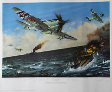 SUBMARINE SEAFIRE PILOTS Signed 26X19 Ltd Ed Print KOREAN WAR COA