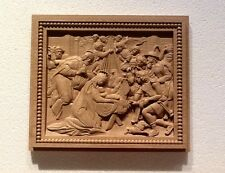 "Wood Carving Wall Plaque Nativity  11-34"" x 10-1/8"" x 1""Thick."