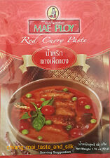 3 Packets Mae Ploy Red Curry Paste 50g. MSG Free