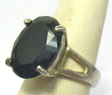 STERLING SILVER SAPPHIRE BLUE BLACK RING LARGE STONE SIZE 7.5   7.4 GRAMS