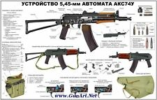 NICE! Color Poster Of The AKSU KRINKOV Kalashnikov AK74 5.45x39  LQQK & BUY NOW!