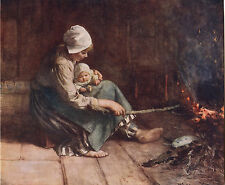 """B JOHANNES BLOMMERS 1914 Antique Book Print """"AT THE FIRESIDE"""" Oil Painting"""