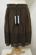 ELIE TAHARI 100% Linen Brown Sevina Eyelet Cut-Out A Line Skirt 2 NWT $398