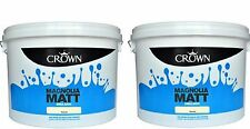 2 for £34  Crown Matt Emulsion Magnolia Wall & Ceiling Paint Non-Breatheasy 7.5L