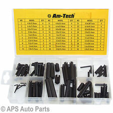 120pc Roll Pin Tension Pins Spring Pins C Pins Assortment Set Mixed Sizes Black