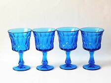 Vintage Noritake Perspective Blue Wine Goblet Glasses set of 4
