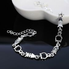 Hot Brass Silver Plated Bracelet Fish Cat Shape Hand Chain Jewelry For Women