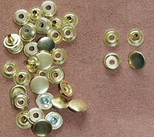10 Gold Press Stud Popper complete sets 15mm spring