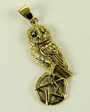Pendant Bronze Owl On Pentagram L4cm By Lisa Parker