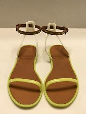 Tory Burch Yellow Leather Ankle-Strap Flat Jelly Sandal (Woman) Size 8