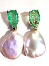 3.3 CT Glowing Colombian Emerald and Baroque Pearl 14K Yellow Gold Drop Earrings