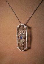 VINTAGE SOLID 14K WHITE GOLD W/ SAPPHIRE BROOCH PIN/PENDANT ART DECO w/14K Chain