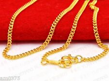 Authentic 999 24K Yellow Gold Necklace Charming Curb Shape Link Chain Yuxi