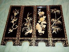 VINTAGE ORIENTAL BLACK LACQUER 4 PANEL TABLE SCREEN