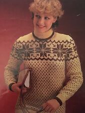 "Knitting Pattern - DK Polo-neck Christmas Snowflake Jumper - Sizes 32-38"" Chest"