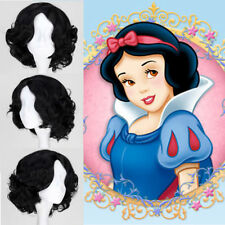 Disney Princess Snow White Short Black Curly Wavy Wigs Hair Cosplay Anime Wig