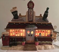 Vintage 1997 Coca Cola Christmas Village Diner Lighted House