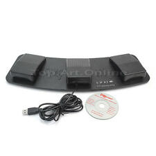 Black Plastic Computer FS3-P USB Three Foot Switch Pedal Control with Cable