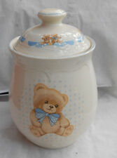 TIENSHAN THEODORE COUNTRY BEAR CANISTER SUGAR 2 PC BLUE RIBBON BOW RARE