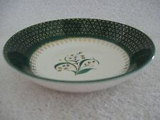 Vintage Green White Gold Accents Bell Flowers Ceramic Dessert Berry Bowls