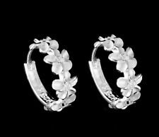 STERLING SILVER 925 HAWAIIAN 4 PLUMERIA FLOWER HOOP EARRINGS CLEAR CZ