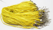 10PCS Yellow Organza Ribbon Necklace Cords Colour Alloy Clasp 45cm + 5cm u