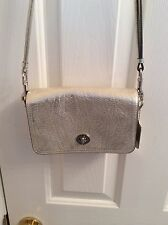NEW Women's COACH Light Gold Leather Crossbody Purse with Silver Hardware