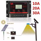10A 20A 30A LCD Auto PWM Solar Panel Regulator Charger Controller Dual USB 24V