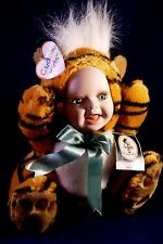 """Geppeddo Cuddle Kids """"Toby Tiger"""" Porcelain Doll Plush Collectible~2000"""