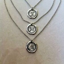 Stunning Emii Accessories Silver Initial Coin Stamped Pendant Necklace