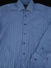 Ben Sherman Mens Button Front Long Sleeve Blue Stripe Shirt 16