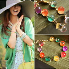 Lady Charm Cuff Gold Chain Crystal Colorful Beads Chic Bracelet Retro Jewelry