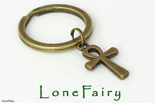 Antique Bronze Plated Egyptian Ankh Keyring Symbol Key Chain Sign of Life
