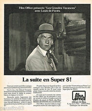 "PUBLICITE ADVERTISING 065  1975  FILM OFFICE  L. DE FUNES ""LES GRANDES VACANCES"""