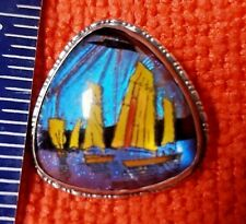 Sterling BUTTERFLY WING brooch pin England Aug 1924, Boat scene