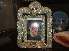 5x7 Abalone Shell Encrusted Mirrored Photo Frame