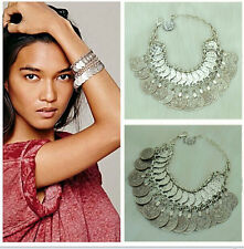 Hot Women Turkish Vintage Sliver Alloy Handmade Boho Coin Bracelet jewelry