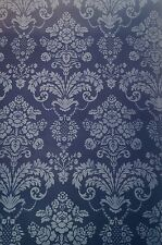 Gorgeous Bold Modern Blue Floral Scroll Damask Wallpaper Double Roll Lot of 5