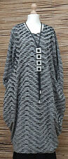 LAGENLOOK*MB GERMANY*PARACHUTE QUIRKY DRESS/LONG TUNIC*GREY/BLACK*BUST UP TO 46""
