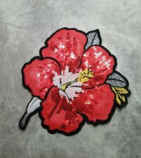 LARGE FLOWER PATCH RED SEW ON APPLIQUE