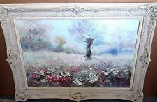 "Vtg Beautiful 36"" Van Dali Oil Painting On Canvas Mother & Child Flowers Meadow"