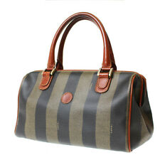 FENDI Striped Boston Hand Bag Black Brown PVC Leather Italy Authentic #8185 W