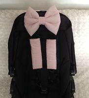harness covers padded hood bow pram pushchair buggy baby pink  new