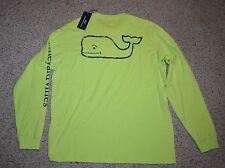 NWT Vineyard Vines T Shirt Long Sleeve Men Large Whale Lime Green Tart Apple