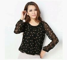 Women's Dot Pattern Round collar Long sleeve Chiffon Blouse Shirt Top