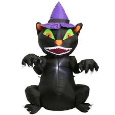5 ft. Inflatable Lighted Black Cat with Witch Hat Halloween Airblown Yard Decor