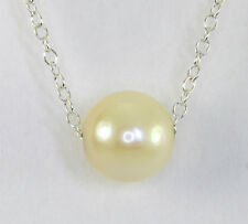 Akoya pearl necklace 925 sterling silver genuine 8-8.5 MM solitaire cable chain