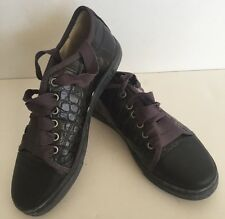 Lanvin Woman Black Leather Sneakers Low Top Size 37