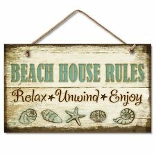 Beach House Rules Wall Plaque Sign Coastal Decor Relax Unwind Enjoy Shell Theme