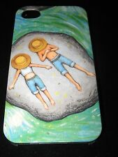 Couple Case for iPhone 4 4s Boy & Girl Sunbathing on Rock In Water Hats Pulled